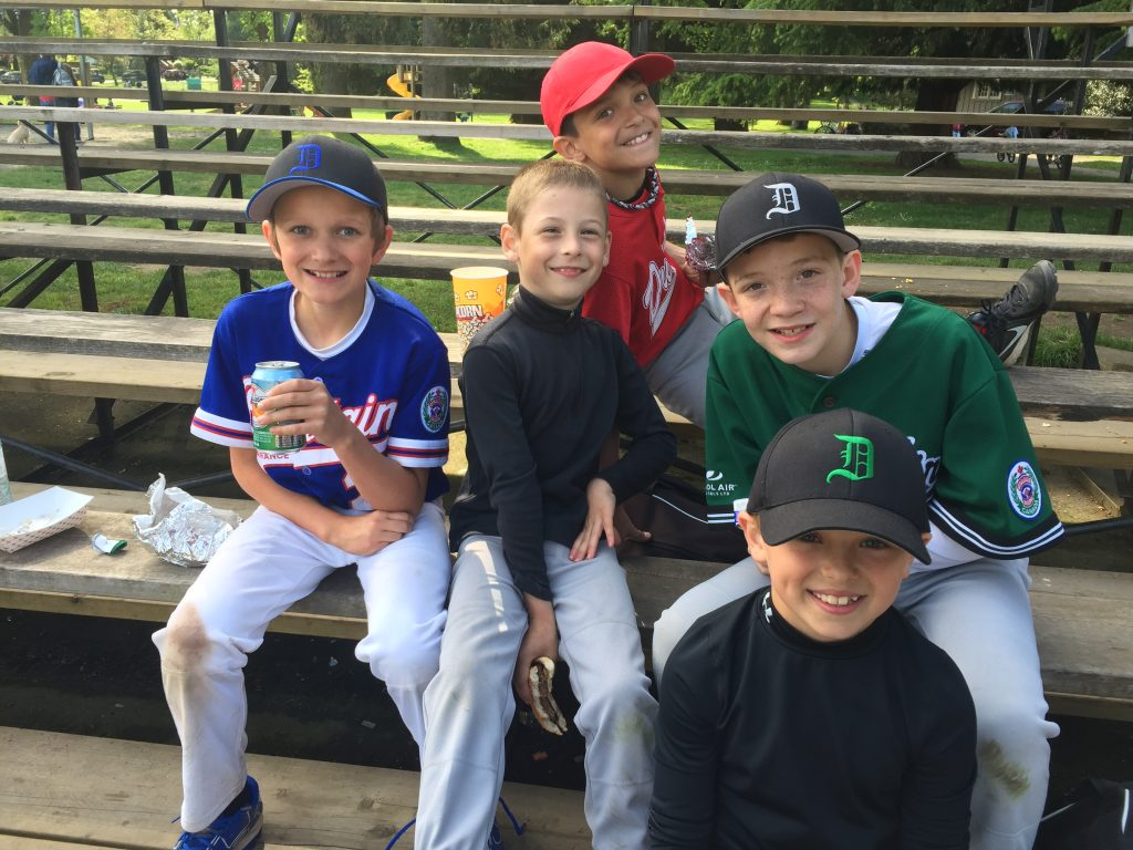 Little Leaguers ready for action, l-r, Dylan Berrington-Dom, Robert Jaques, Ryan MacLean, Matt MacLean, Matt Vrlak